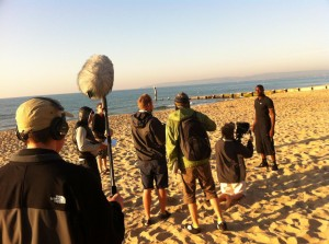 recording on location at Bournemouth
